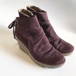 fly london yebi suede wedge ankle booties